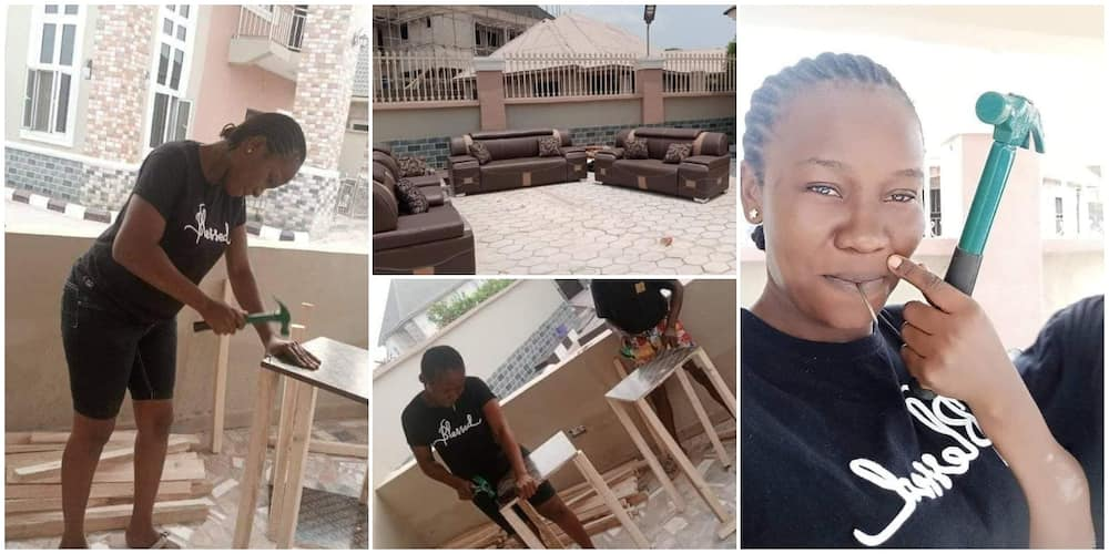Pretty Nigerian lady makes nice furniture, impresses many on social media with her carpentry skills