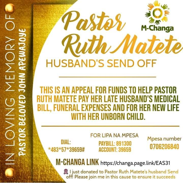 Ruth Matete aomba msaada wa fedha ili aweze kumzika mumewe