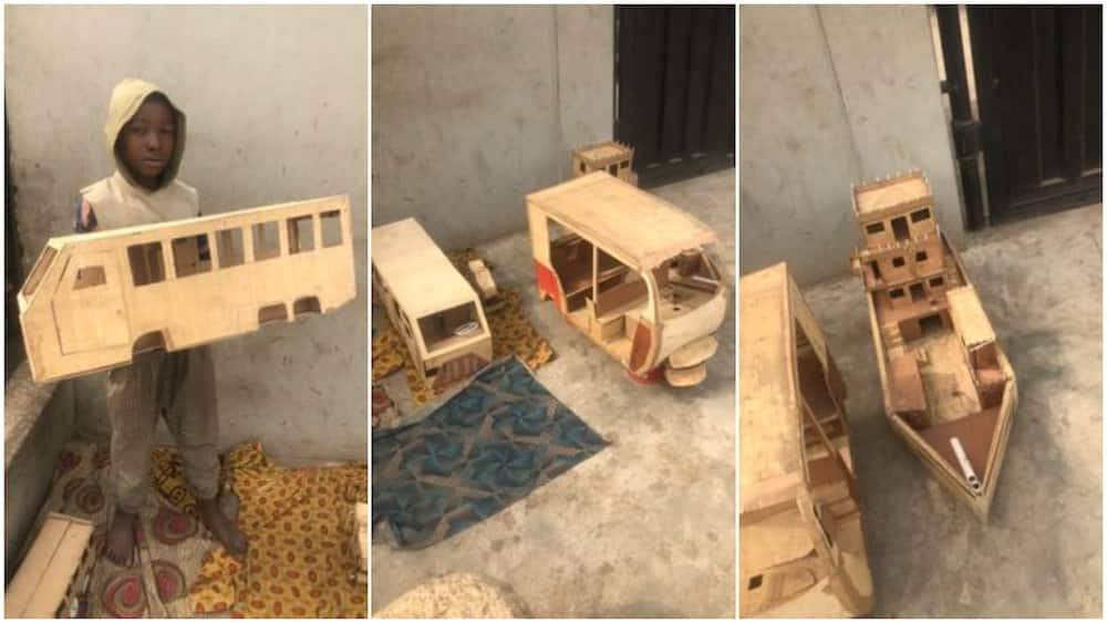Nigerian boy builds ship, tricycle, bus replicas with woods, photos get people talking