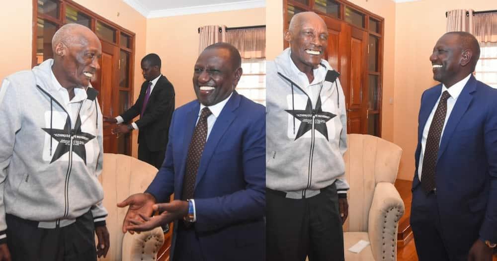 William Ruto visits Mzee Kibor at his Uasin Gishu home, shares light moments