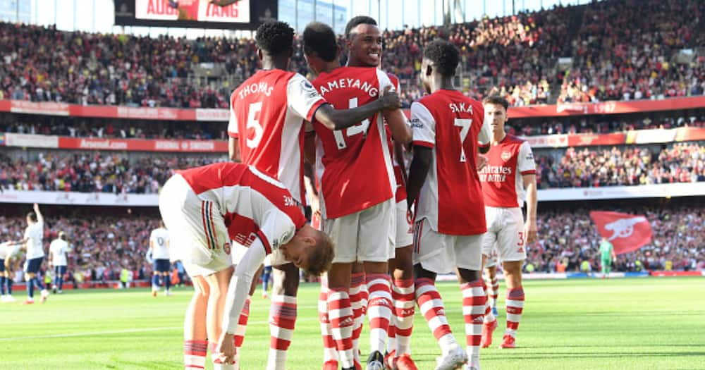 Pierre-Emerick Aubameyang celebrates scoring Arsenal's 2nd goal with Gabriel Magalhaes during their Premier League match against Tottenham Hotspur at Emirate. (Photo by David Price/Arsenal FC via Getty Images)