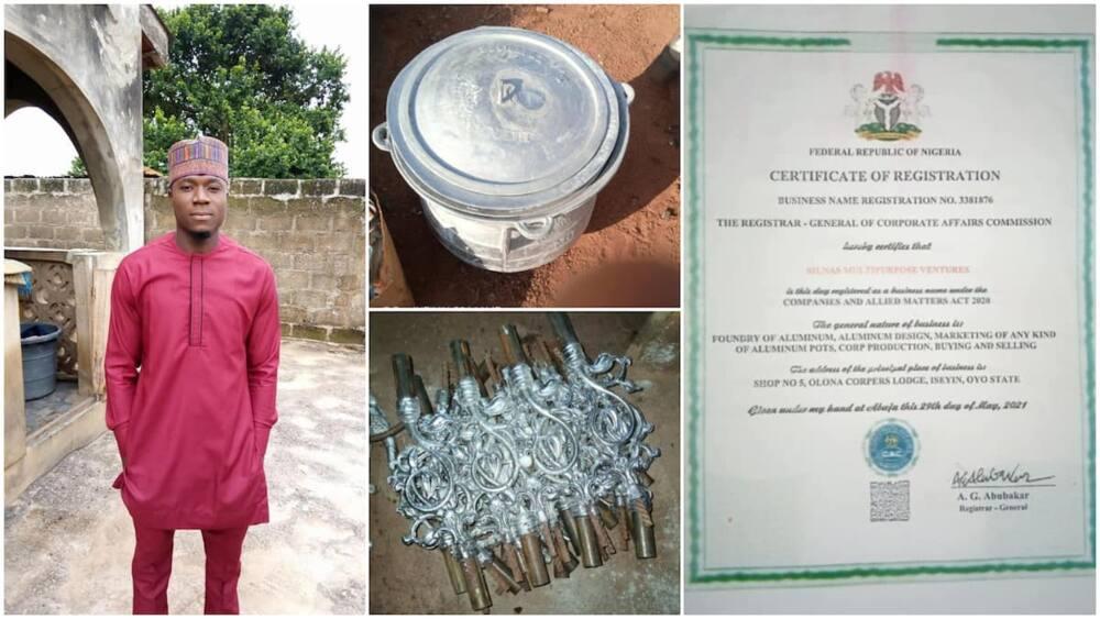 The Nigerian man makes fine aluminum pots from metals.