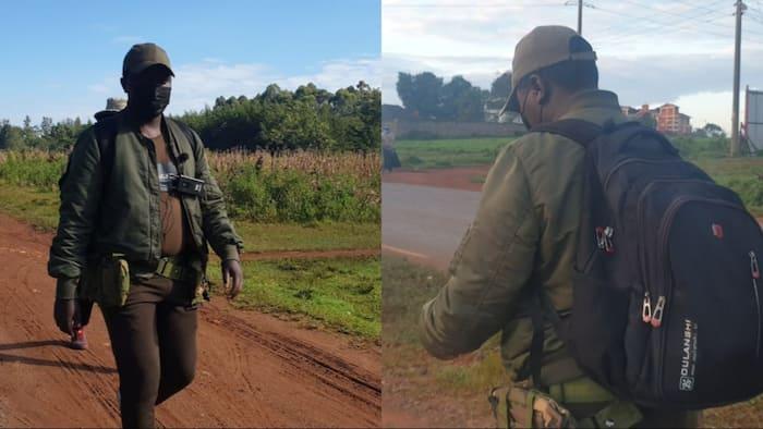 KDF Day: 5 Photos of Kitale Comedian Mkenya Walking 47kms to Honour Kenyan Military