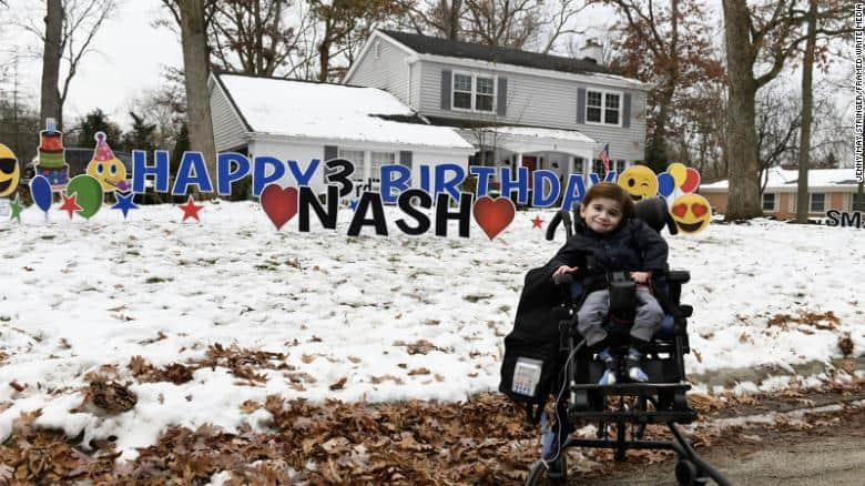 Sweet moment as 3-year-old boy with rare disease gets parade for his birthday