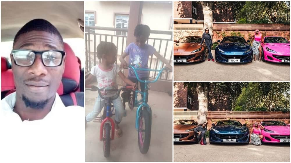 A collage showing the dad, his daughter and the Ferarri for the Otedolas. Photo source: Twitter/Dauda/DJ Cuppy