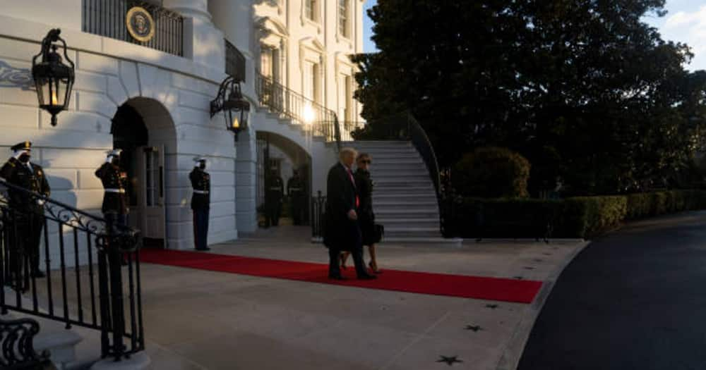 Donald Trump leaves White House for last time as US president aboard Marine 1