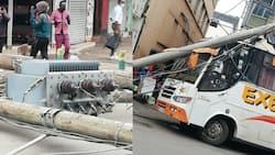 Kenya Power Transformer Falls in Nairobi CBD, Hits Mombasa-Bound Bus