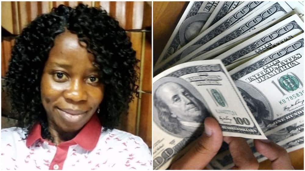 A collage showing the Nigerian lady and a random dollar bills picture. Photo sources: LinkedIn/Ibidunni Oluwaseyi Adefemi/Niarametrics