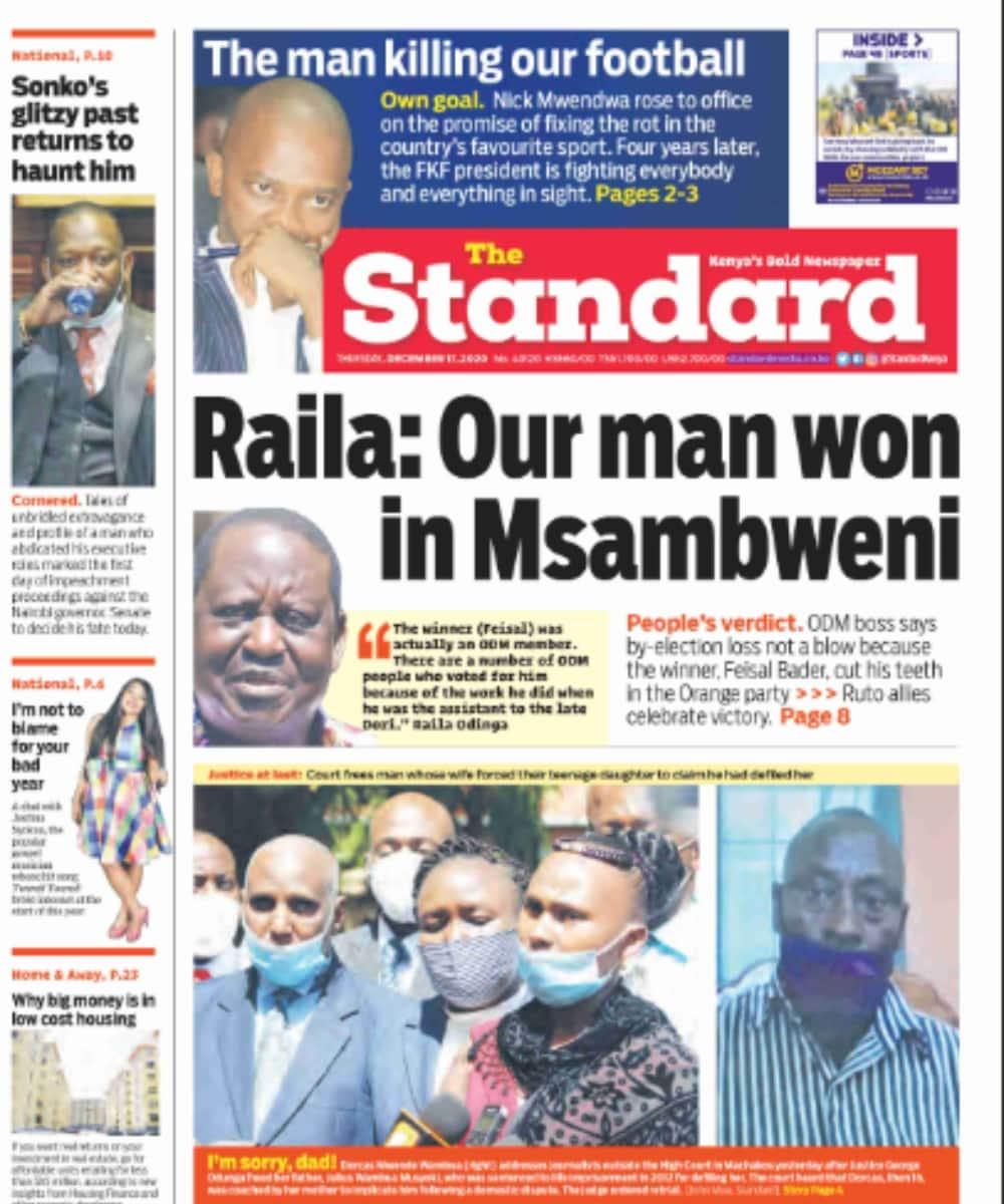 Magazeti ya Alhamisi, Disemba 17: Raila adai ODM ilishinda uchaguzi wa Msambweni