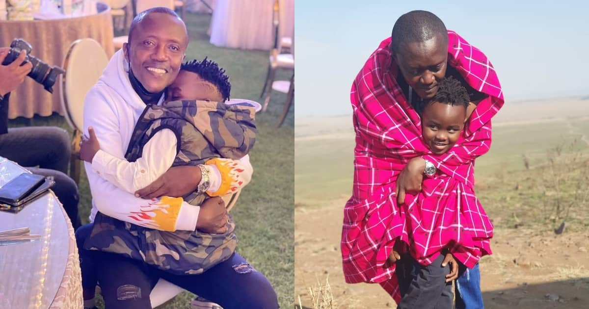 Maina Kageni shows his fatherly side as he cares for sleepy 'son' in cute snap