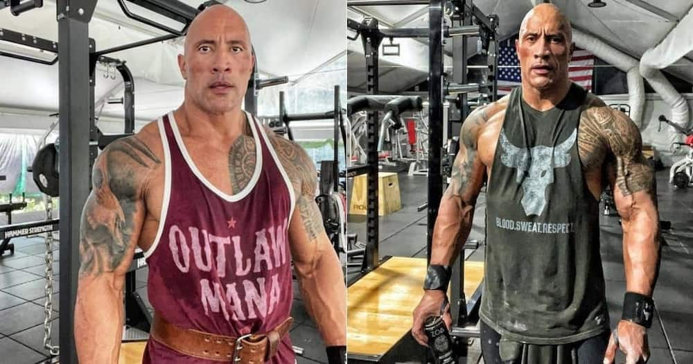 The Rock, shares, how many showers, takes a day