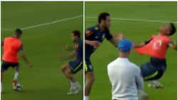 Brazil superstar Neymar wrestles 19-year old to the ground for nutmegging him in training