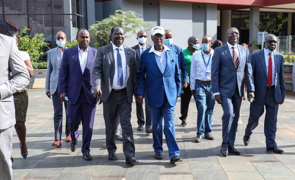 ODM leaders Raila Odinga, Chris Kiribu together with other leaders at Two Rivers Mall. Photo: Two Rivers Mall.