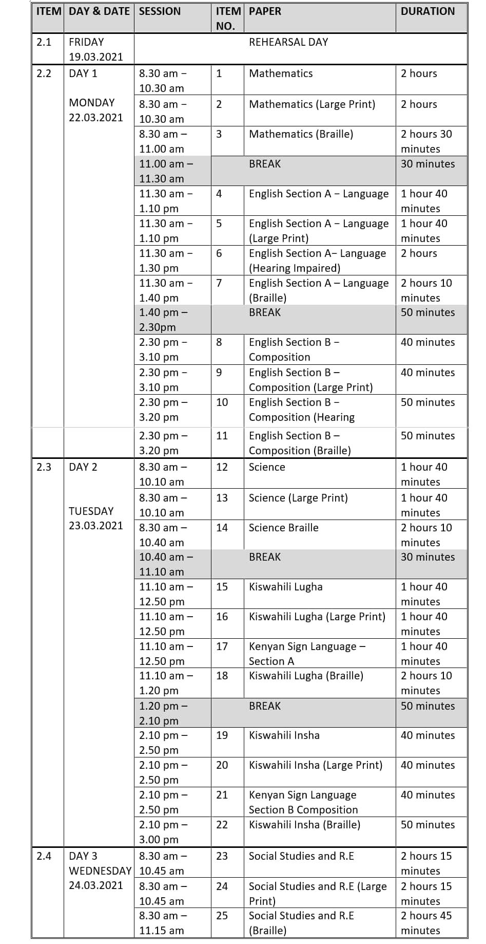 KCPE examination timetable