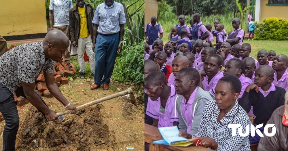Tony Kwalanda launches toilet project in rural school.