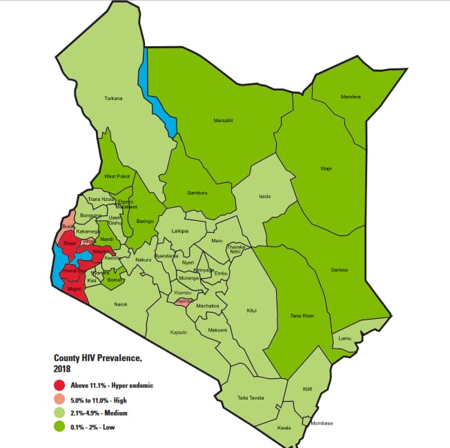 counties with high HIV prevalence in Kenya