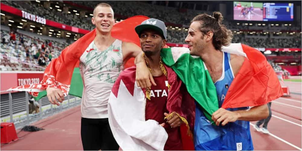 Mutaz Barshim and Gianmarco Tamberi decided to share the gold medal in the men's high jump. Photo by Christian Petersen.