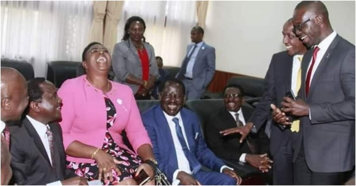 Rebel ODM MP Aisha Jumwa spotted laughing uncontrollably in the company of Raila