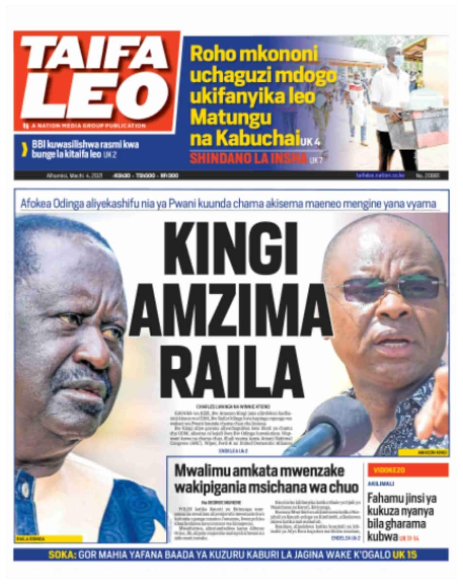 Taifa Leo newspaper for March 4. Photo: UGC.