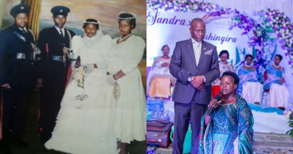 Collage of Asan Kasingye and his wife during their wedding and their present state. Photo: Asan Kasingye.