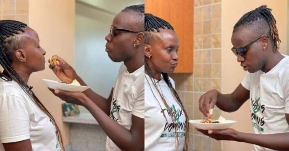 Guardian Angel feeding Esther Musila ugali at their house.