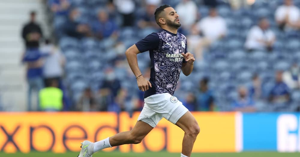 Manchester City winger Mahrez in action