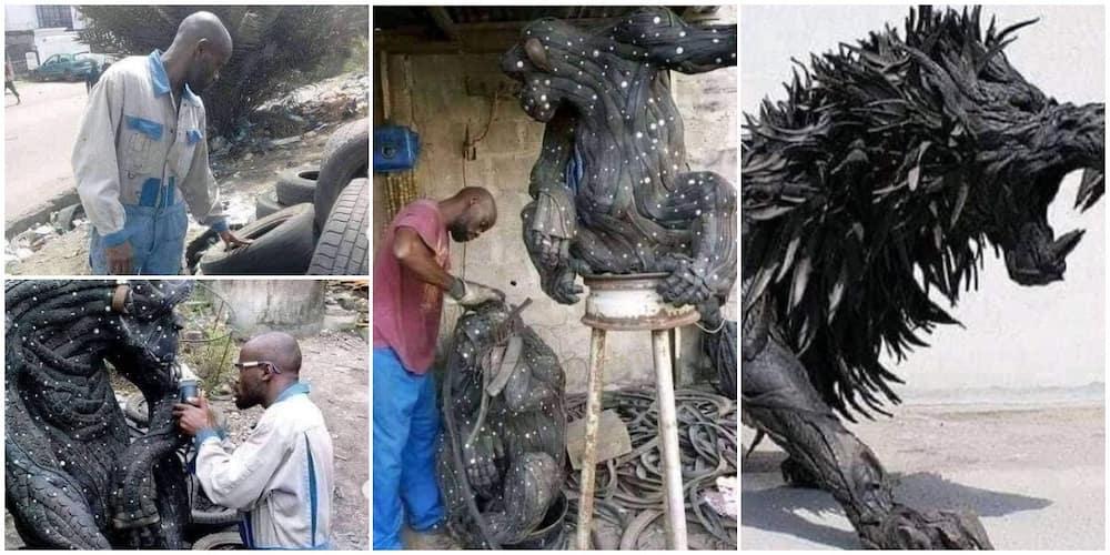 Young man makes big sculptures of lion, gorilla using car tyres, photos spark huge reactions