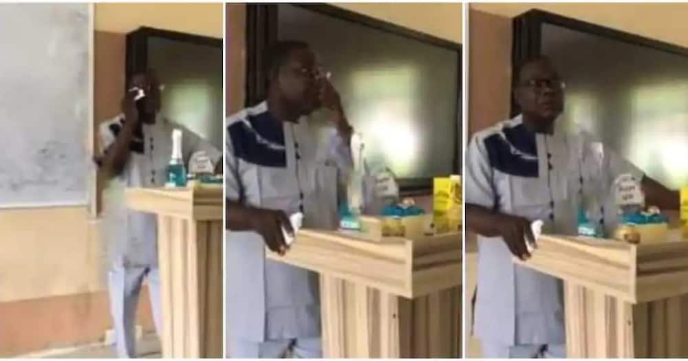 Lecturer gets emotional in class after students gift him on his Birthday.