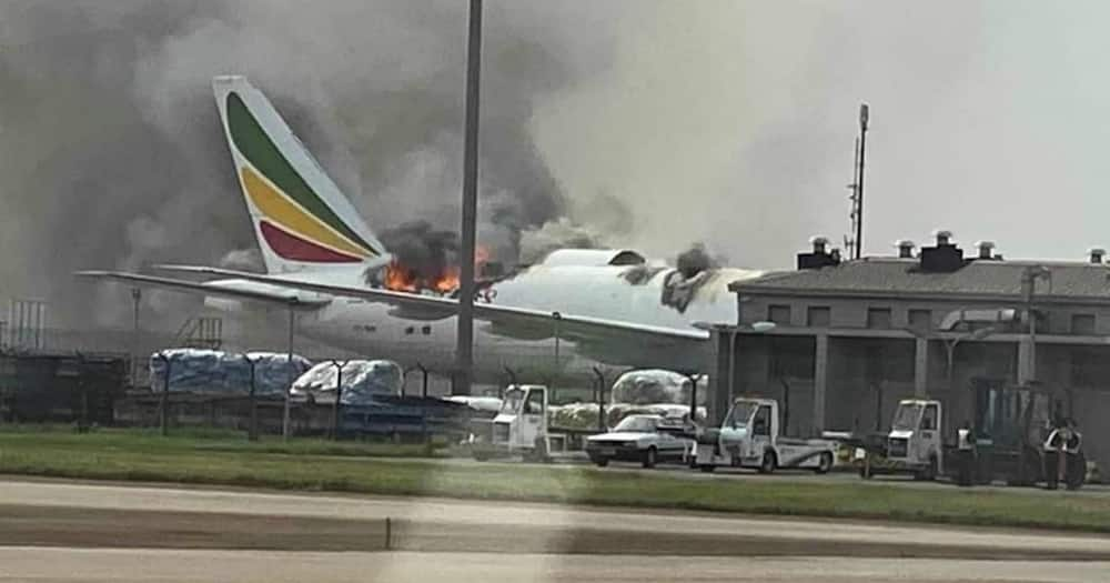 Ethiopian Airlines plane catches fire in China