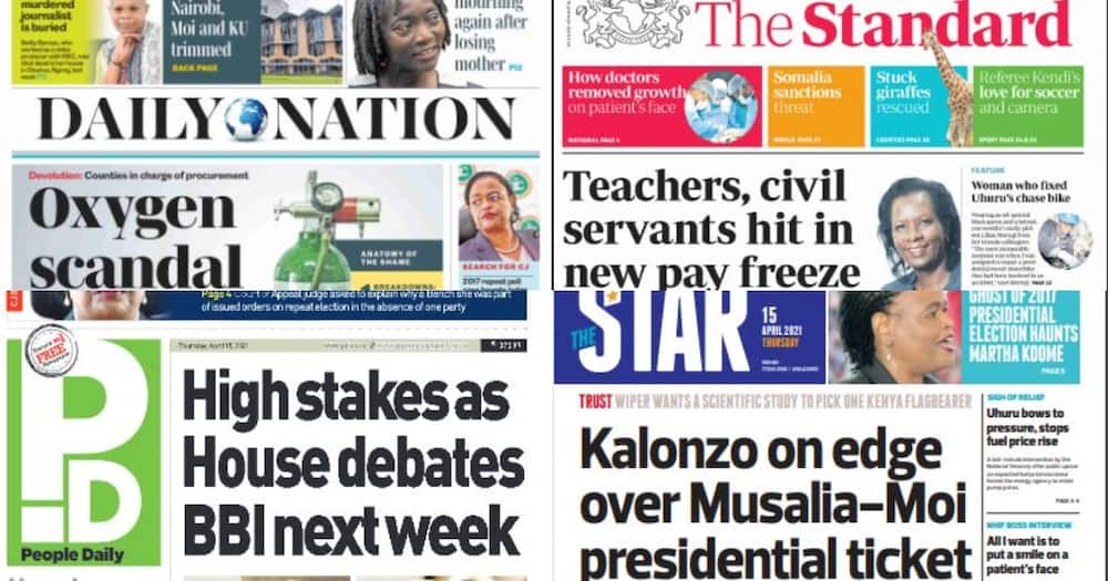 Kenyan Newspapers Review for April 15: Disquiet Rocks One Kenya Alliance Over Proposed Mudavadi, Gideon Ticket
