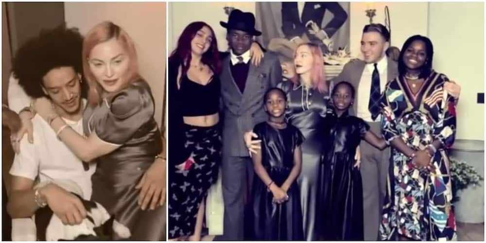 Madonna poses with all six children and boyfriend during Thanksgiving