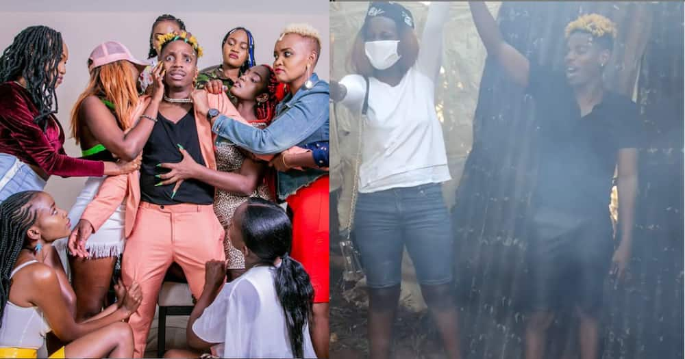 Eric Omondi at it again, challenges city girls to cook using firewood