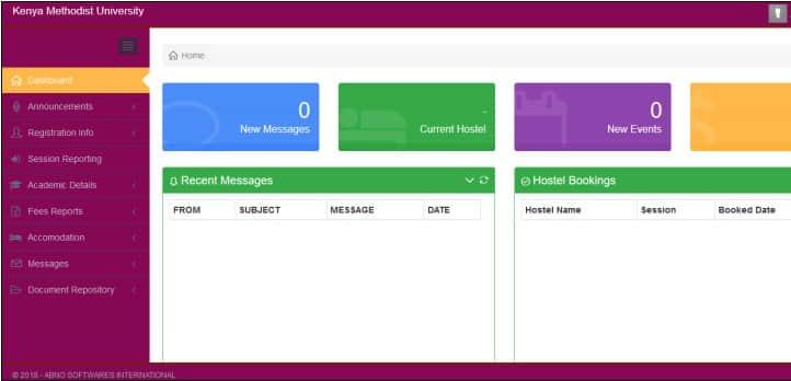 KEMU student portal dashboard