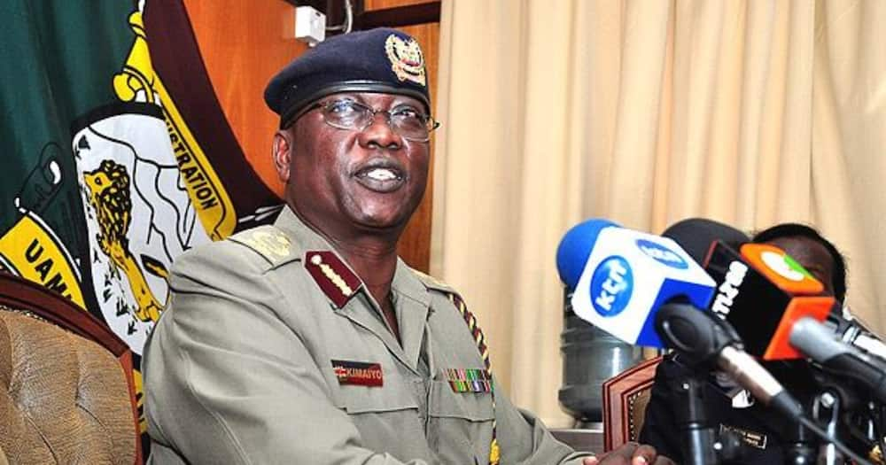 Ex-Police Boss David Kimaiyo addressing the press in a past event.