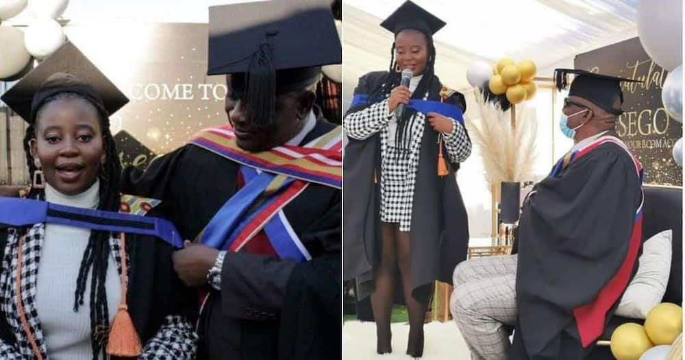 The girl and her father both graduated on the same day in a move that impressed many people on social media.