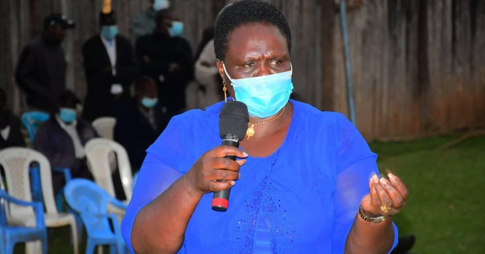 Ex-Nandi woman representative Zipporah Kering addressing a public gathering in the past.