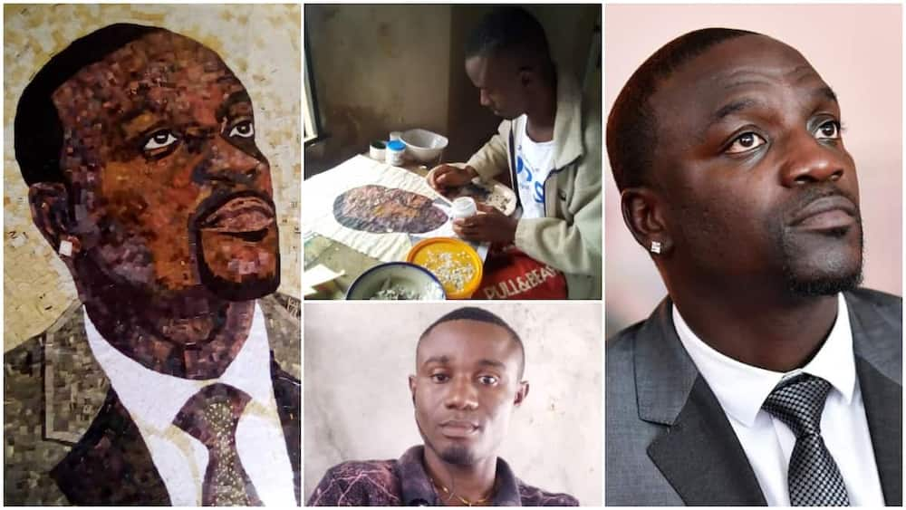 Young Nigerian man uses newspaper to make fine portrait of Akon, photos go viral