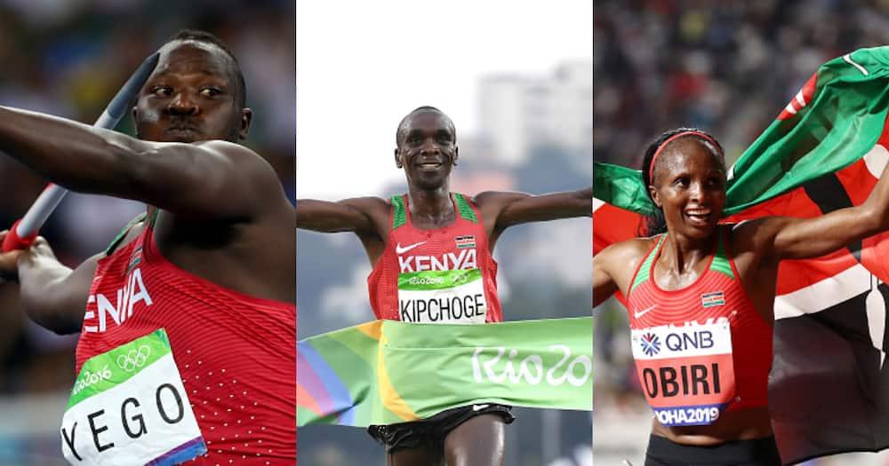 From left javelin star Julius Yego, marathon icon Eliud Kipchoge and long-distance runner Hellen Obiri. Photos by Alexander Hassenstein and Matthias Hangst.