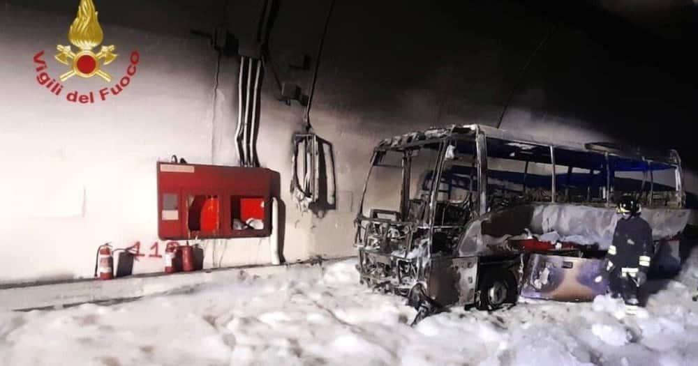The school bus caught fire. Photo: BBC.