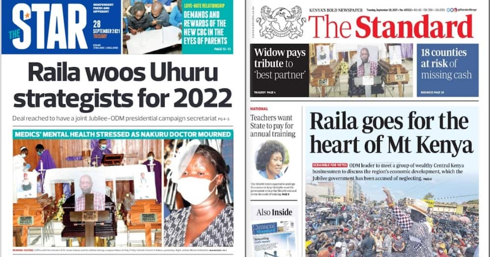 Kenyan Newspapers Review: Photo: Screengrabs from The Star and The Standard.