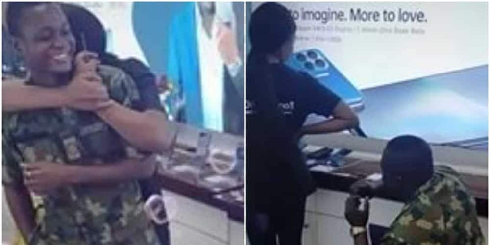 Sweet moment Nigerian soldier proposes marriage to girlfriend melts hearts on social media