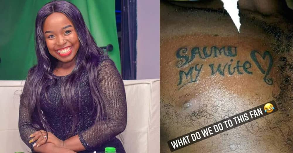 Saumu Mbuvi Reacts as Fan Gets Chest Tattoo Saying She's His Wife