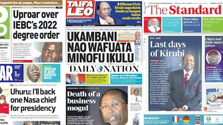 Newspapers Review For June 15: MCAs Up in Arms against IEBC's 2022 Degree Requirement for Aspirants