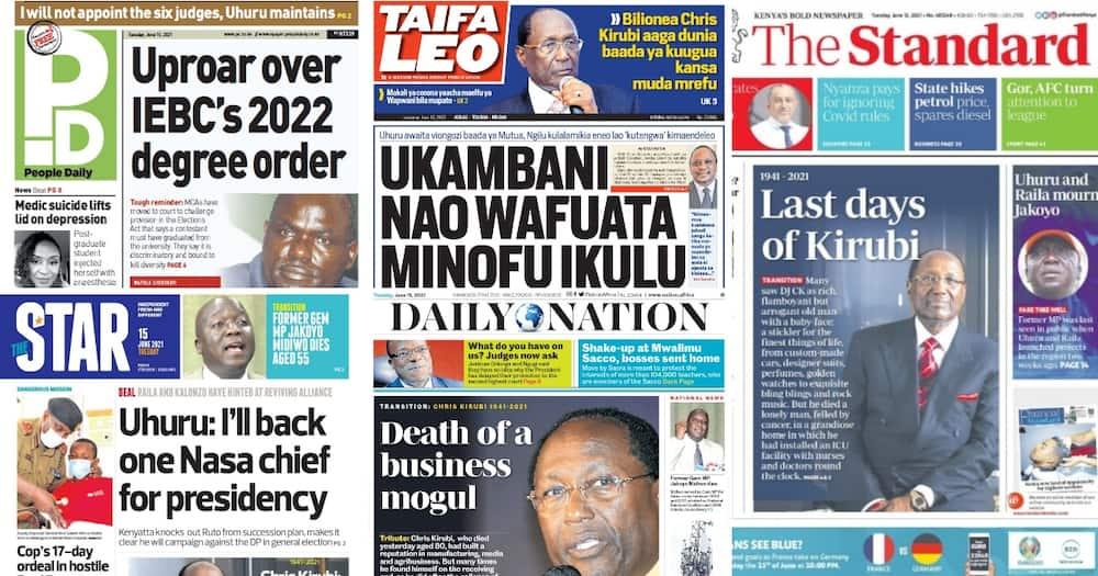 Magazeti Jumanne, Juni 15: MaMCA Wakabilaina na IEBC kuhusu