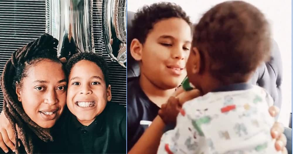 Nazizi Son Tafari Proud to Be a Big Brother as He Plays with Baby Adam
