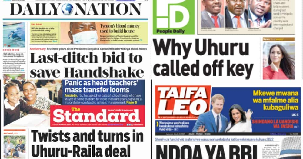 Kenyan newspapers review on March 9: Uhuru, Raila to meet at State House to save troubled handshake