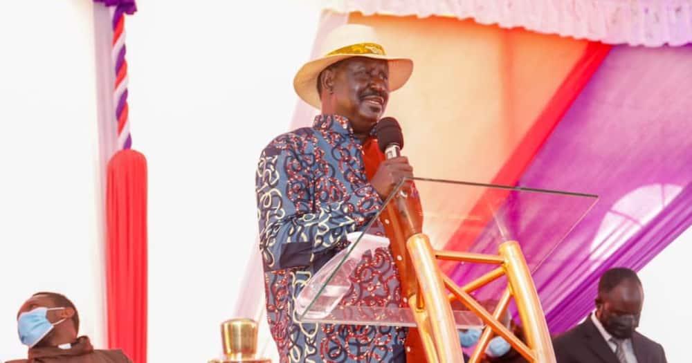 Raila Odinga speaking at a recent event.