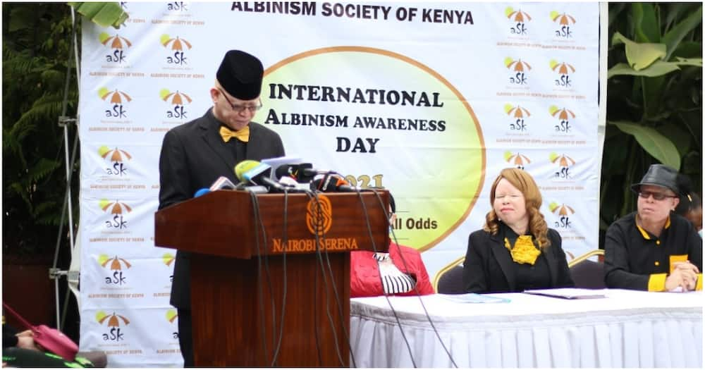 The Albinism Society of Kenya (ASK) chairperson, Isaac Mwaura addressing the press on Sunday, June 13.