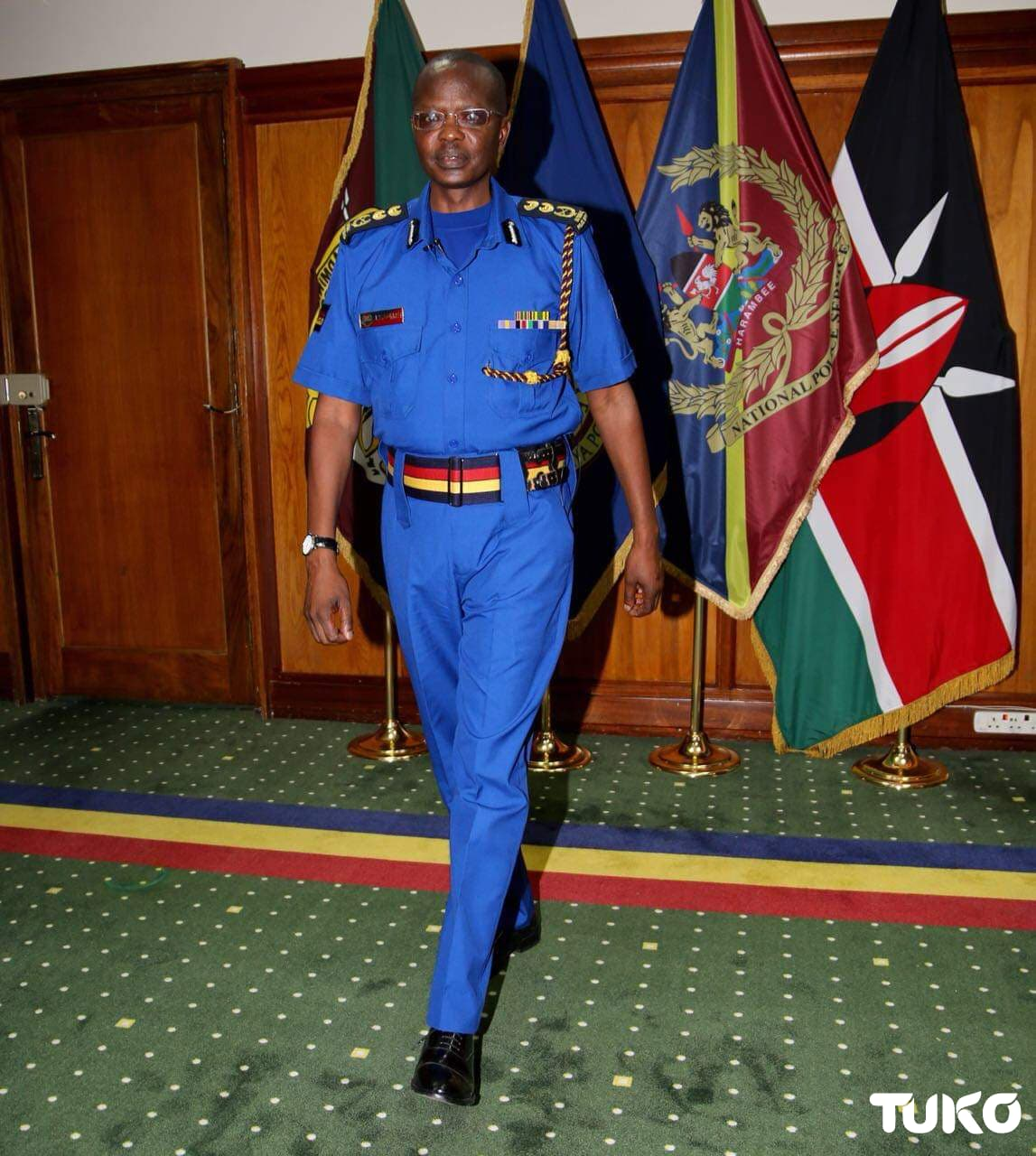 The Inspector General of Police Joseph Boinnet donning the new police uniform.