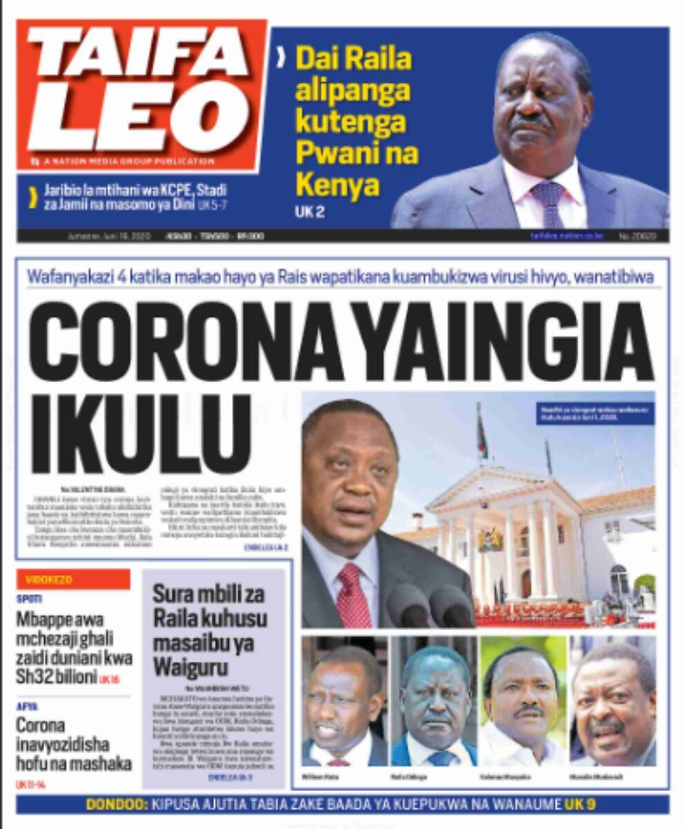 Kenya Newspapers review for June 16: Kalonzo, Gideon Moi and Peter Kenneth to feature in Uhuru's new cabinet